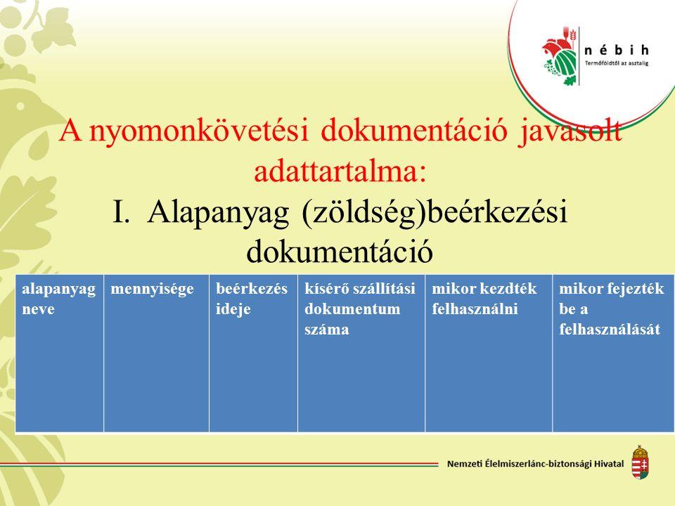 A nyomonkövetési dokumentáció javasolt adattartalma: I. Alapanyag (zöldség)beérkezési dokumentáció alapanyag neve mennyiségebeérkezés ideje kísérő szá
