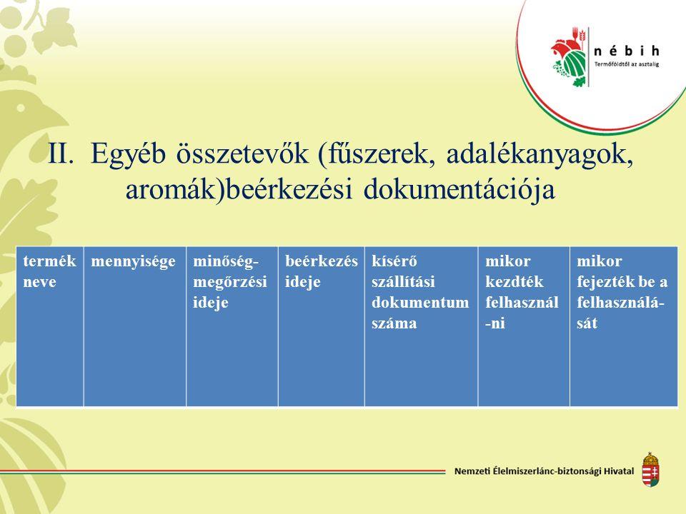 II. Egyéb összetevők (fűszerek, adalékanyagok, aromák)beérkezési dokumentációja termék neve mennyiségeminőség- megőrzési ideje beérkezés ideje kísérő