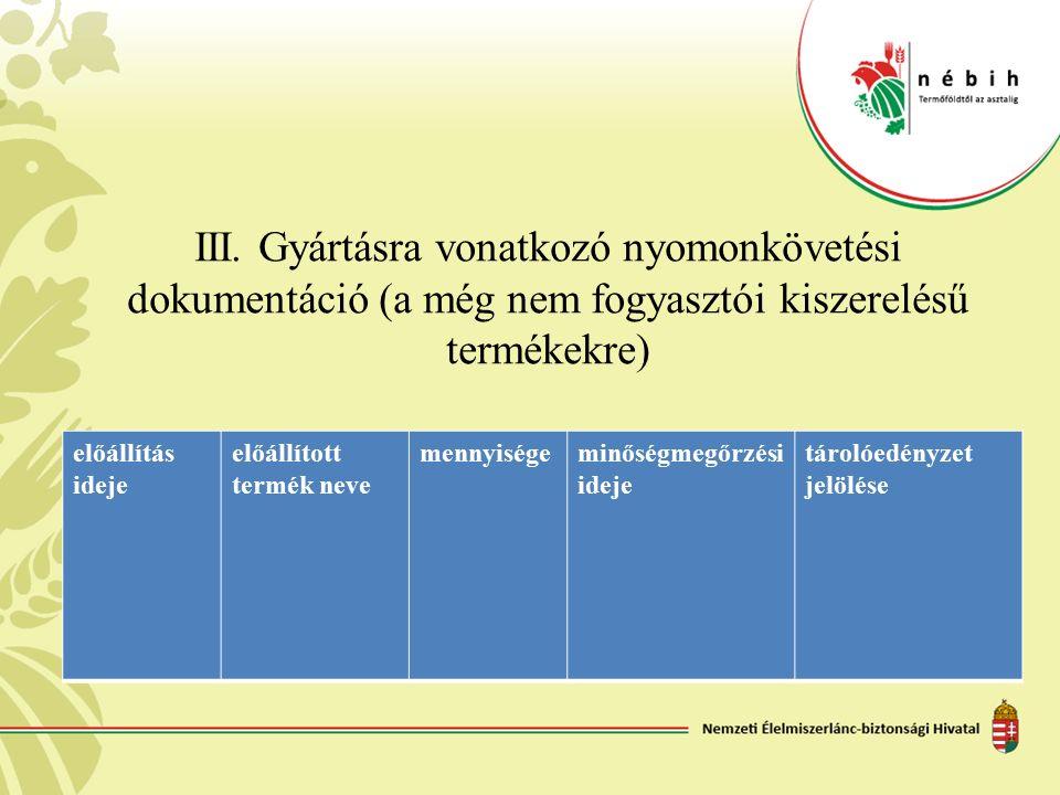 III. Gyártásra vonatkozó nyomonkövetési dokumentáció (a még nem fogyasztói kiszerelésű termékekre) előállítás ideje előállított termék neve mennyisége