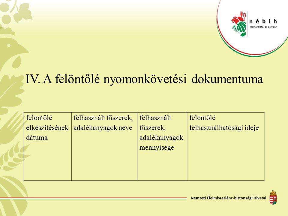 IV. A felöntőlé nyomonkövetési dokumentuma felöntőlé elkészítésének dátuma felhasznált fűszerek, adalékanyagok neve felhasznált fűszerek, adalékanyago
