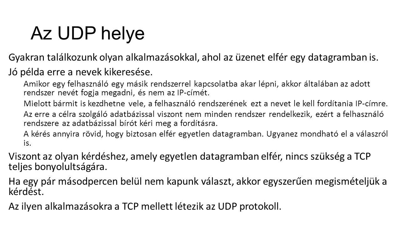 Az UDP helye Gyakran találkozunk olyan alkalmazásokkal, ahol az üzenet elfér egy datagramban is. Jó példa erre a nevek kikeresése. Amikor egy felhaszn