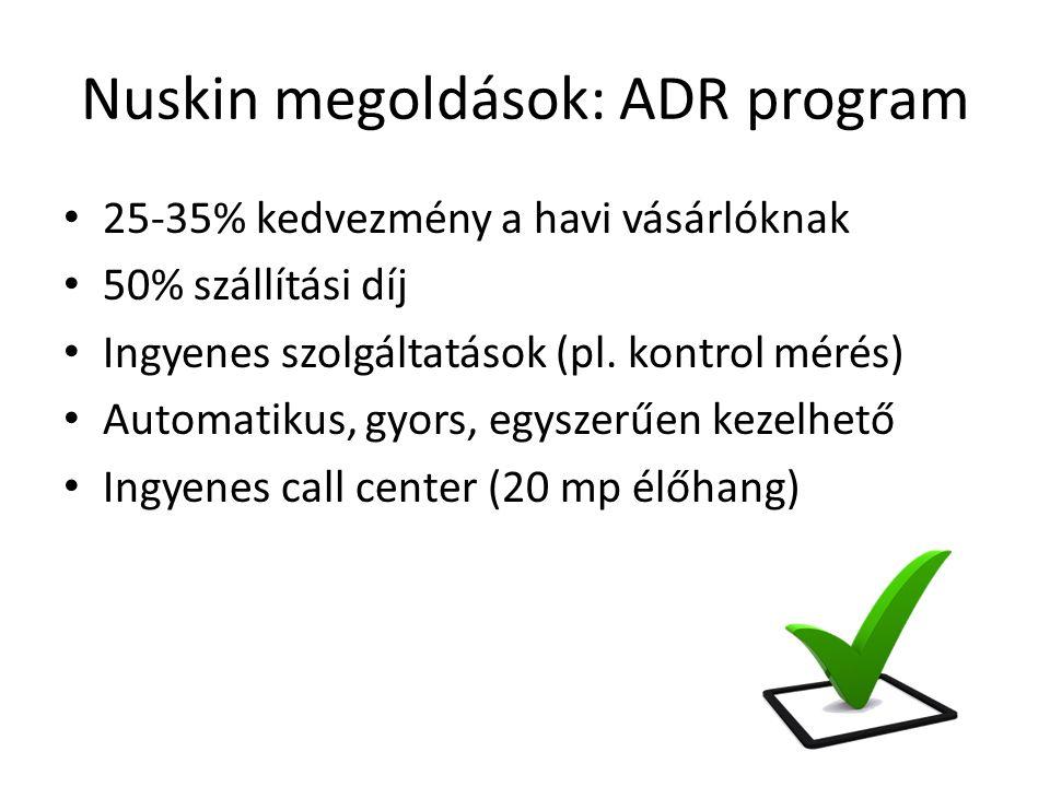 Nuskin megoldások: ADR program 25-35% kedvezmény a havi vásárlóknak 50% szállítási díj Ingyenes szolgáltatások (pl.