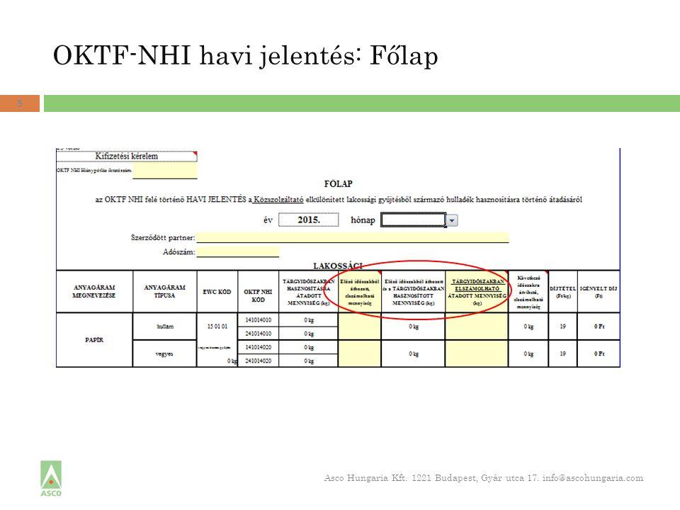 OKTF-NHI havi jelentés: Főlap 5 Asco Hungaria Kft. 1221 Budapest, Gyár utca 17. info@ascohungaria.com