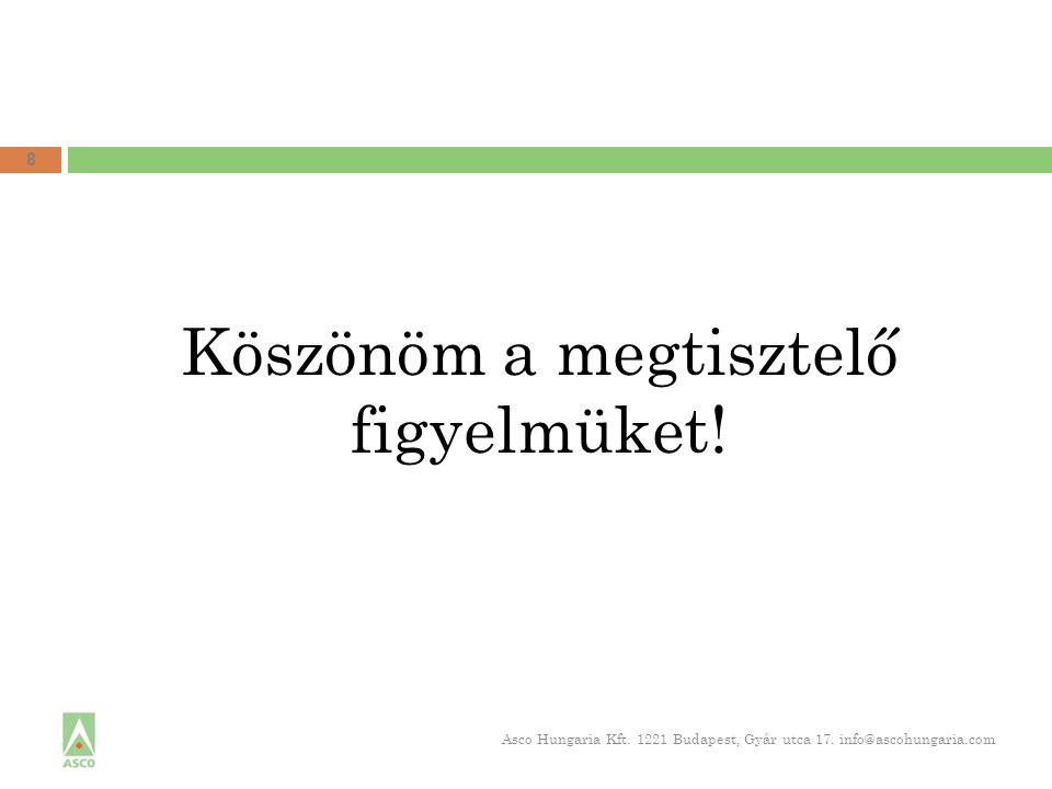 Köszönöm a megtisztelő figyelmüket! 8 Asco Hungaria Kft. 1221 Budapest, Gyár utca 17. info@ascohungaria.com