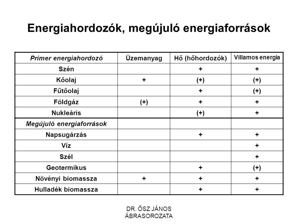 Energiahordozók, megújuló energiaforrások Primer energiahordozóÜzemanyagHő (hőhordozók) Villamos energia Szén++ Kőolaj+(+) Fűtőolaj+(+) Földgáz(+)++ Nukleáris(+)+ Megújuló energiaforrások Napsugárzás++ Víz+ Szél+ Geotermikus+(+) Növényi biomassza+++ Hulladék biomassza++ DR.