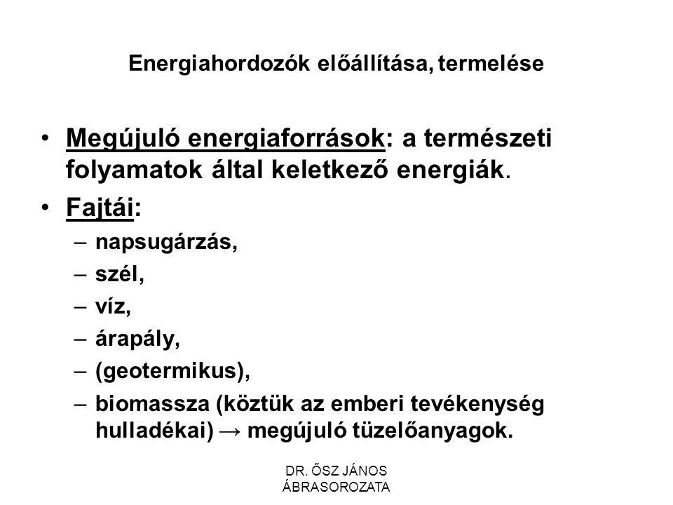 Energiahordozók előállítása, termelése Megújuló energiaforrások: a természeti folyamatok által keletkező energiák.