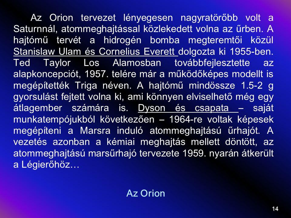 Az Orion Az Orion tervezet lényegesen nagyratörőbb volt a Saturnnál, atommeghajtással közlekedett volna az űrben.