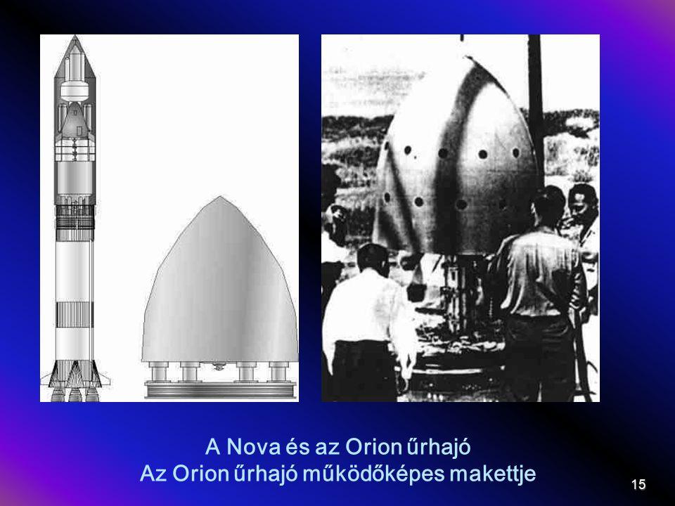 A Nova és az Orion űrhajó Az Orion űrhajó működőképes makettje 15