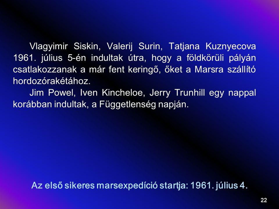 Az első sikeres marsraszállás – 1962.május 22. Érthetetlen szavak - Csak öt szektor.