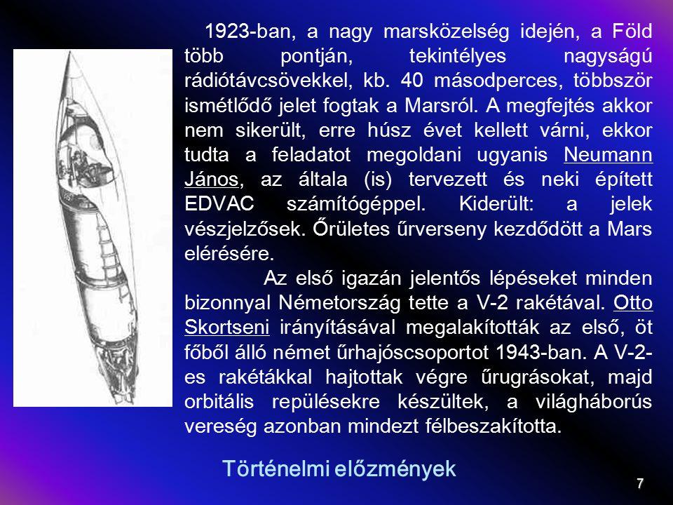Történelmi előzmények 1923-ban, a nagy marsközelség idején, a Föld több pontján, tekintélyes nagyságú rádiótávcsövekkel, kb.