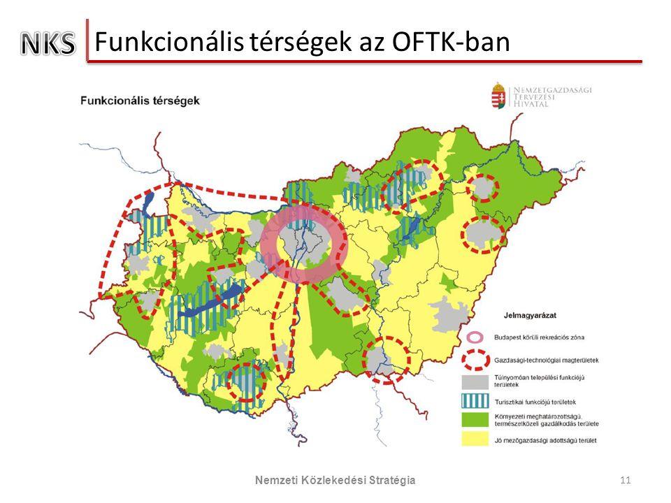 Funkcionális térségek az OFTK-ban 11 Nemzeti Közlekedési Stratégia