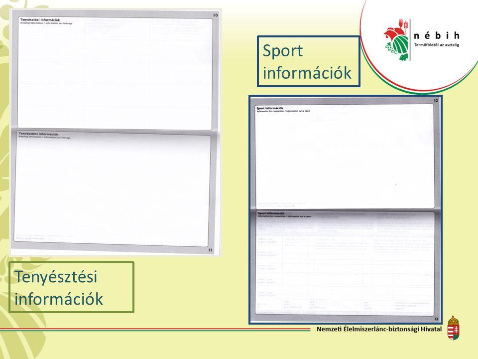 Tenyésztési információk Sport információk
