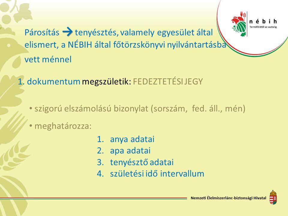 → Párosítás → tenyésztés, valamely egyesület által elismert, a NÉBIH által főtörzskönyvi nyilvántartásba vett ménnel 1.