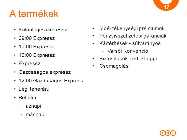 A termékek Különleges expressz 09:00 Expressz 10:00 Expressz 12:00 Expressz Expressz Gazdaságos expressz 12:00 Gazdaságos Express Légi teheráru Belföl