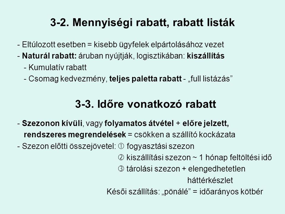 3-2. Mennyiségi rabatt, rabatt listák - Eltúlozott esetben = kisebb ügyfelek elpártolásához vezet - Naturál rabatt: áruban nyújtják, logisztikában: ki
