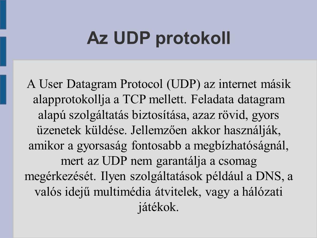 Az UDP protokoll A User Datagram Protocol (UDP) az internet másik alapprotokollja a TCP mellett. Feladata datagram alapú szolgáltatás biztosítása, aza