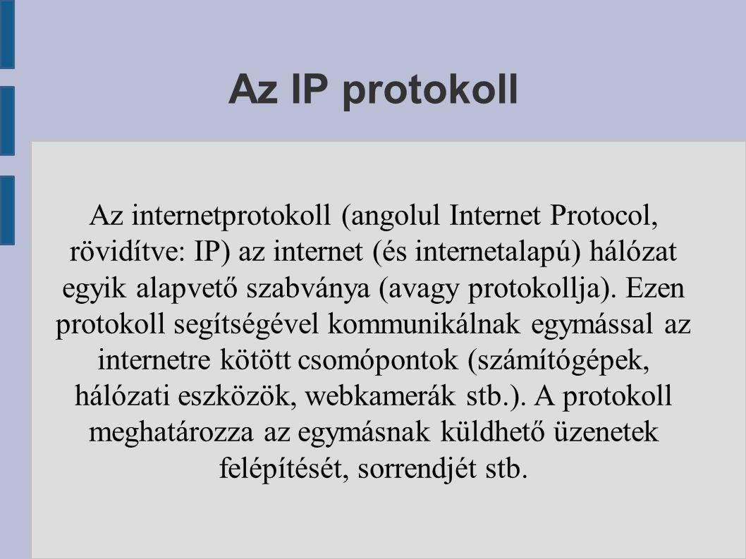 Az IP protokoll Az internetprotokoll (angolul Internet Protocol, rövidítve: IP) az internet (és internetalapú) hálózat egyik alapvető szabványa (avagy protokollja).