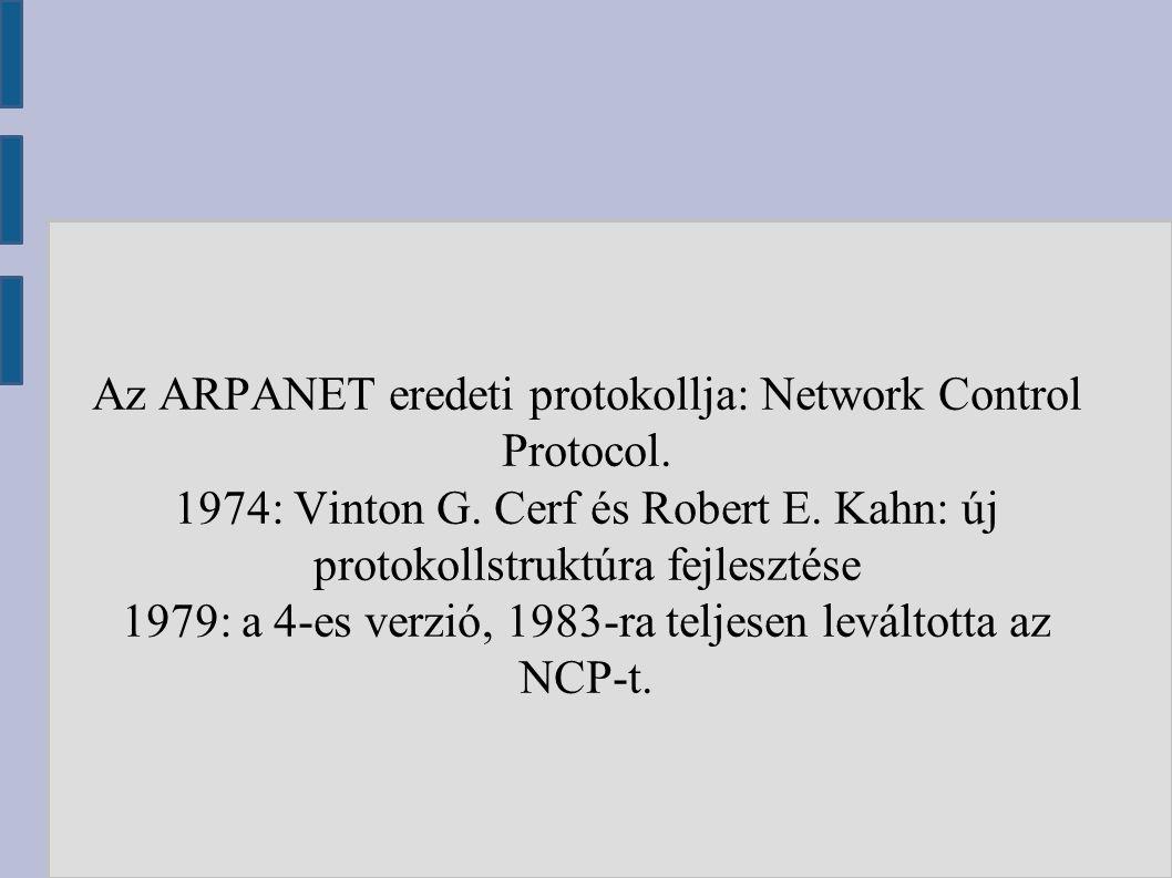 Az ARPANET eredeti protokollja: Network Control Protocol. 1974: Vinton G. Cerf és Robert E. Kahn: új protokollstruktúra fejlesztése 1979: a 4-es verzi