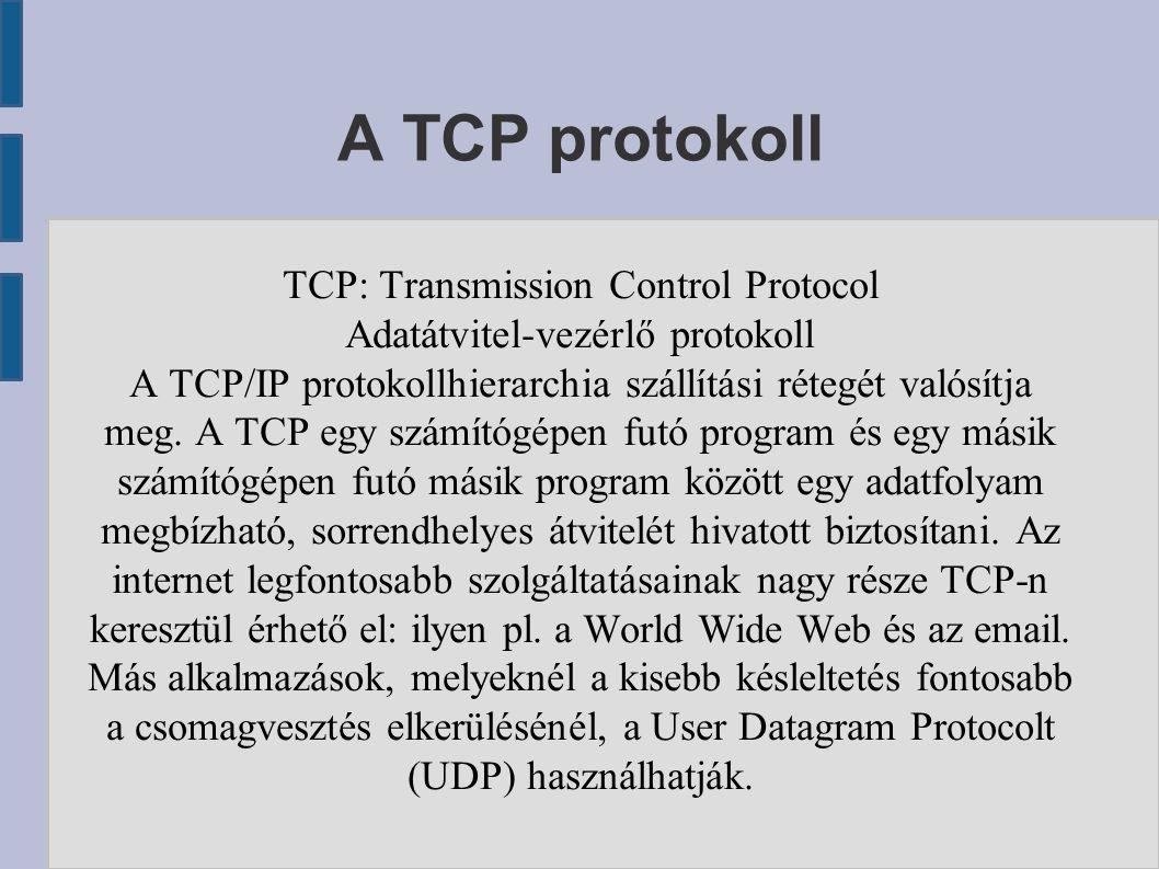 A TCP protokoll TCP: Transmission Control Protocol Adatátvitel-vezérlő protokoll A TCP/IP protokollhierarchia szállítási rétegét valósítja meg. A TCP