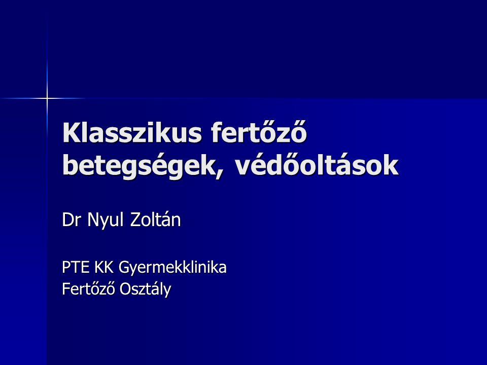 Klasszikus fertőző betegségek, védőoltások Dr Nyul Zoltán PTE KK Gyermekklinika Fertőző Osztály