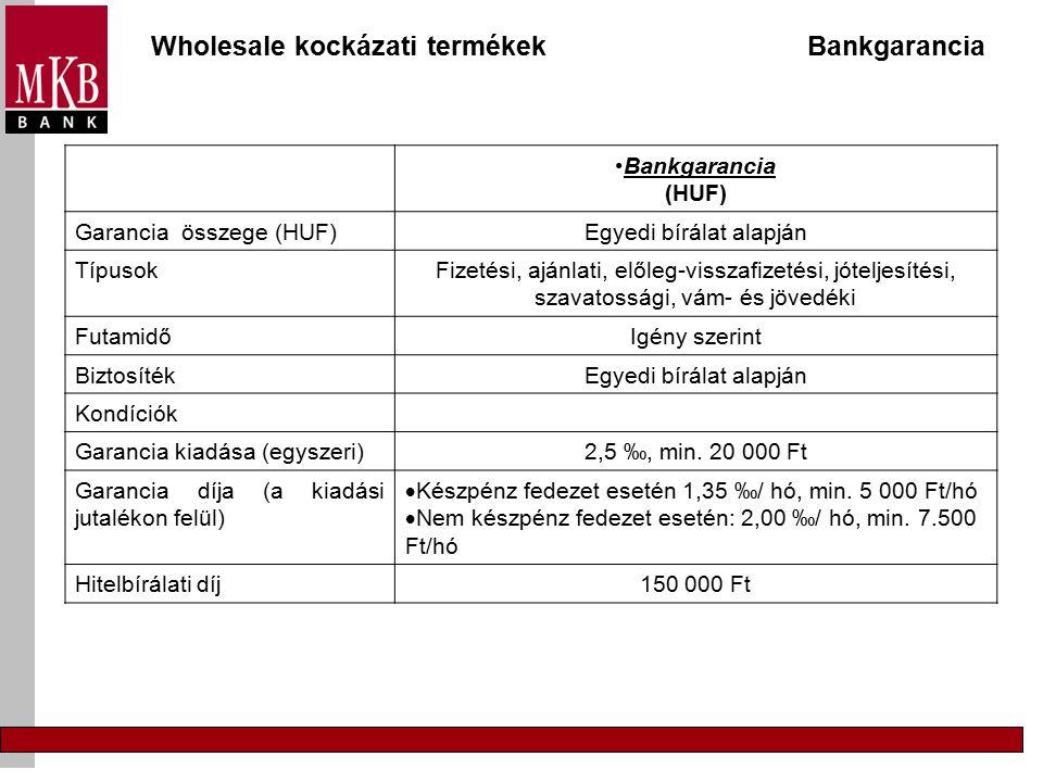Wholesale kockázati termékek Bankgarancia Bankgarancia (HUF) Garancia összege (HUF)Egyedi bírálat alapján TípusokFizetési, ajánlati, előleg-visszafizetési, jóteljesítési, szavatossági, vám- és jövedéki FutamidőIgény szerint BiztosítékEgyedi bírálat alapján Kondíciók Garancia kiadása (egyszeri)2,5 ‰, min.