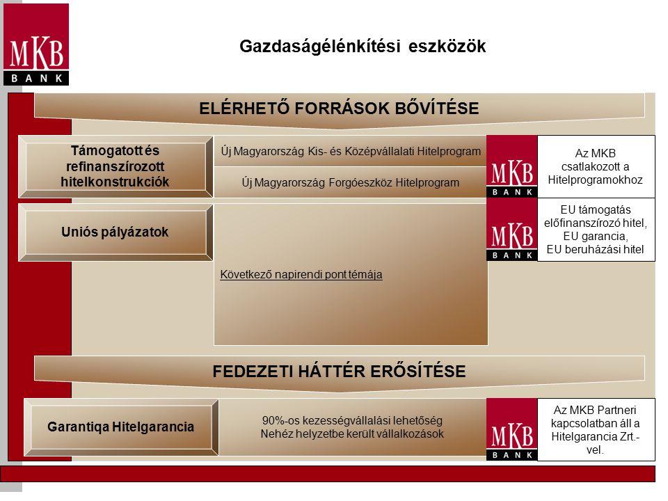 Gazdaságélénkítési eszközök Támogatott és refinanszírozott hitelkonstrukciók Új Magyarország Kis- és Középvállalati Hitelprogram Új Magyarország Forgóeszköz Hitelprogram Uniós pályázatok Következő napirendi pont témája Garantiqa Hitelgarancia 90%-os kezességvállalási lehetőség Nehéz helyzetbe került vállalkozások ELÉRHETŐ FORRÁSOK BŐVÍTÉSE Az MKB csatlakozott a Hitelprogramokhoz EU támogatás előfinanszírozó hitel, EU garancia, EU beruházási hitel FEDEZETI HÁTTÉR ERŐSÍTÉSE Az MKB Partneri kapcsolatban áll a Hitelgarancia Zrt.- vel.