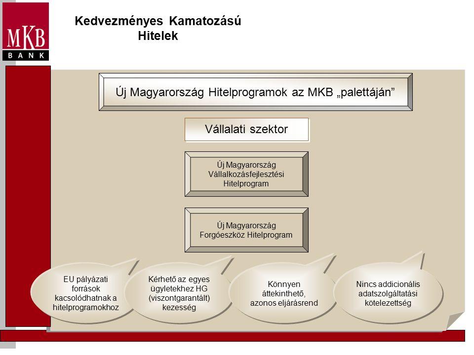 """Kedvezményes Kamatozású Hitelek Új Magyarország Hitelprogramok az MKB """"palettáján Vállalati szektor Új Magyarország Vállalkozásfejlesztési Hitelprogram Új Magyarország Forgóeszköz Hitelprogram EU pályázati források kacsolódhatnak a hitelprogramokhoz Kérhető az egyes ügyletekhez HG (viszontgarantált) kezesség Könnyen áttekinthető, azonos eljárásrend Nincs addicionális adatszolgáltatási kötelezettség"""