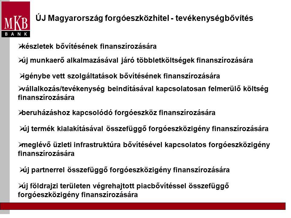 ÚJ Magyarország forgóeszközhitel - tevékenységbővítés  vállalkozás/tevékenység beindításával kapcsolatosan felmerülő költség finanszírozására  készletek bővítésének finanszírozására  új munkaerő alkalmazásával járó többletköltségek finanszírozására  igénybe vett szolgáltatások bővítésének finanszírozására  meglévő üzleti infrastruktúra bővítésével kapcsolatos forgóeszközigény finanszírozására  új partnerrel összefüggő forgóeszközigény finanszírozására  új termék kialakításával összefüggő forgóeszközigény finanszírozására  új földrajzi területen végrehajtott piacbővítéssel összefüggő forgóeszközigény finanszírozására  beruházáshoz kapcsolódó forgóeszköz finanszírozására