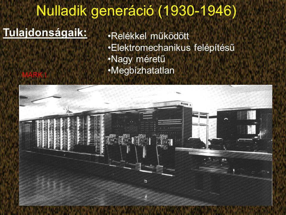 Nulladik generáció (1930-1946) Tulajdonságaik: Relékkel működött Elektromechanikus felépítésű Nagy méretű Megbízhatatlan MARK I.