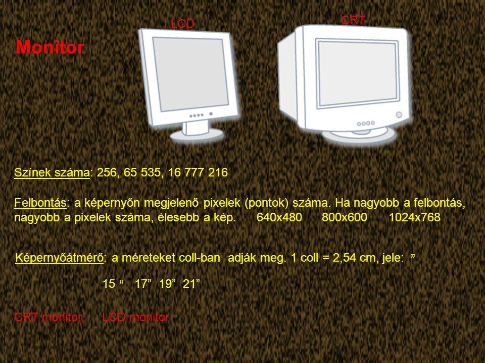 Monitor Színek száma: 256, 65 535, 16 777 216 Felbontás: a képernyőn megjelenő pixelek (pontok) száma.
