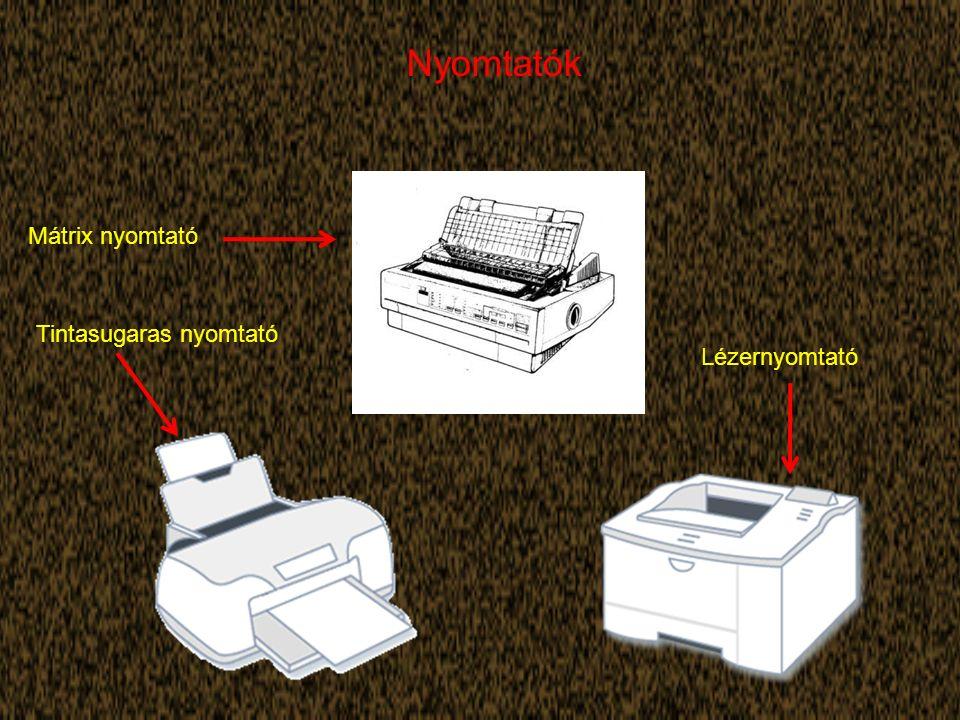 Nyomtatók Mátrix nyomtató Tintasugaras nyomtató Lézernyomtató