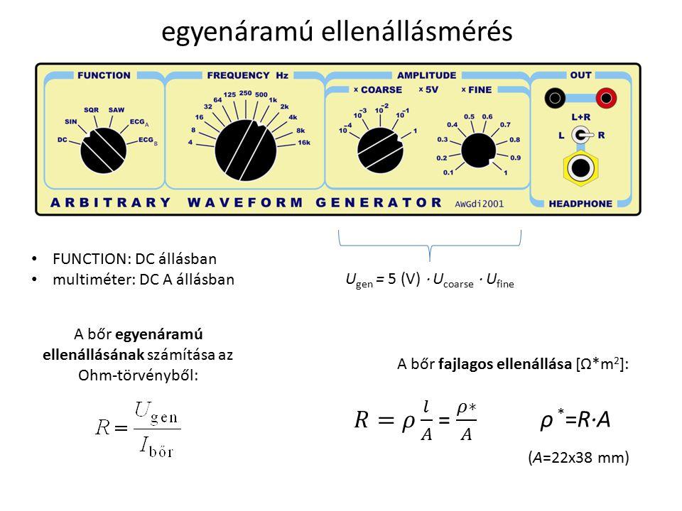 egyenáramú ellenállásmérés FUNCTION: DC állásban multiméter: DC A állásban U gen = 5 (V)  U coarse  U fine A bőr egyenáramú ellenállásának számítása az Ohm-törvényből: A bőr fajlagos ellenállása [Ω*m 2 ]: ρ * =R·A (A=22x38 mm)