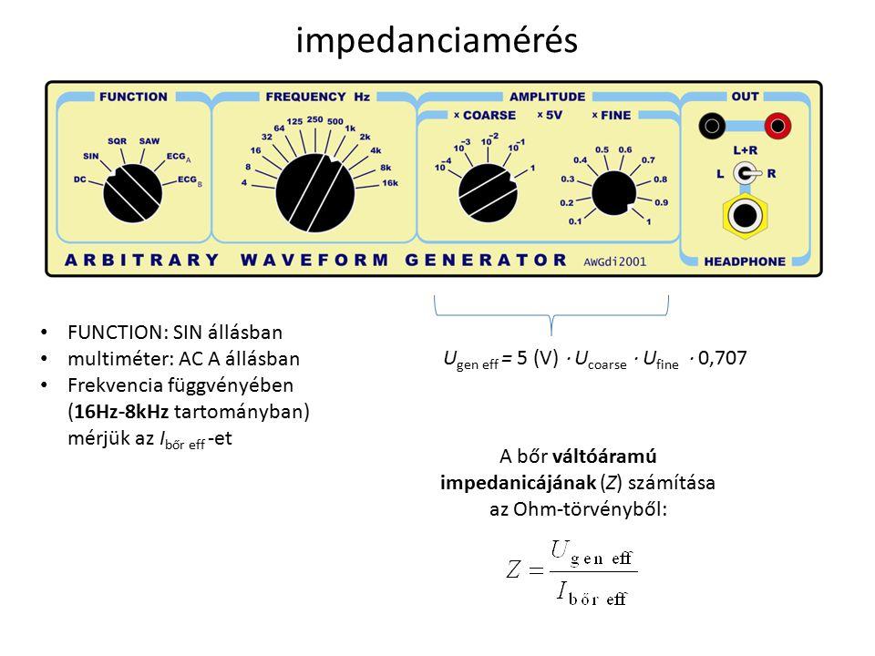 impedanciamérés U gen eff = 5 (V)  U coarse  U fine  0,707 FUNCTION: SIN állásban multiméter: AC A állásban Frekvencia függvényében (16Hz-8kHz tartományban) mérjük az I bőr eff -et A bőr váltóáramú impedanicájának (Z) számítása az Ohm-törvényből:
