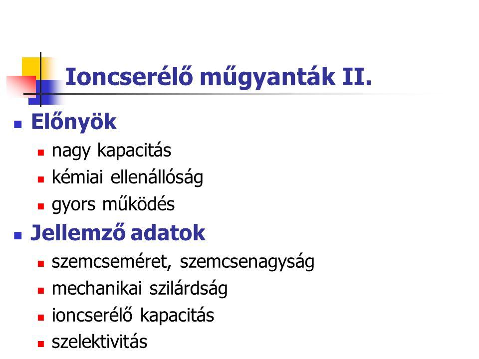 Ioncserélő műgyanták II.