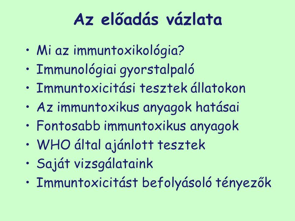 Az előadás vázlata Mi az immuntoxikológia? Immunológiai gyorstalpaló Immuntoxicitási tesztek állatokon Az immuntoxikus anyagok hatásai Fontosabb immun