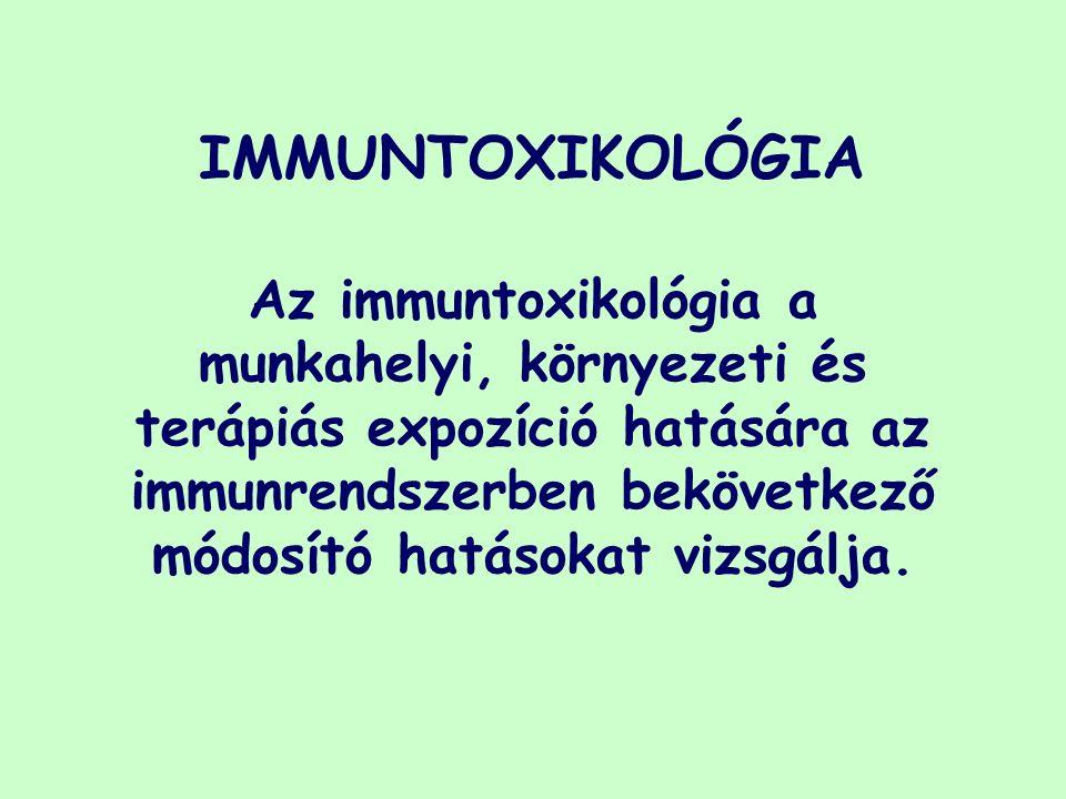 IMMUNTOXIKOLÓGIA Az immuntoxikológia a munkahelyi, környezeti és terápiás expozíció hatására az immunrendszerben bekövetkező módosító hatásokat vizsgálja.