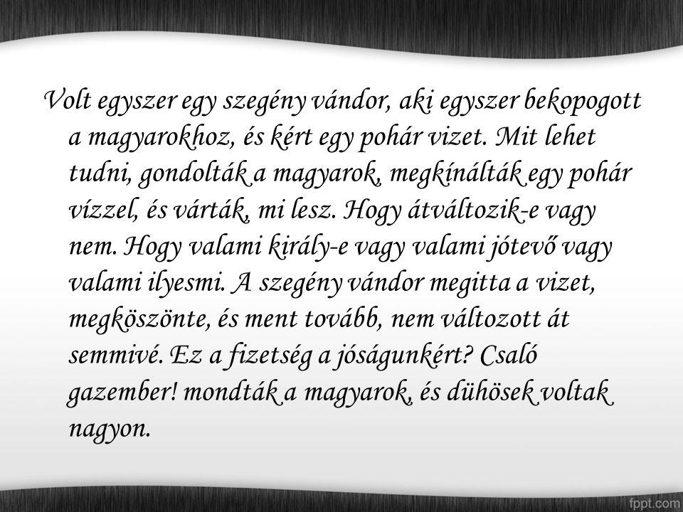 Volt egyszer egy szegény vándor, aki egyszer bekopogott a magyarokhoz, és kért egy pohár vizet.