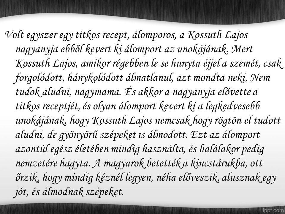 Volt egyszer egy titkos recept, álomporos, a Kossuth Lajos nagyanyja ebből kevert ki álomport az unokájának.