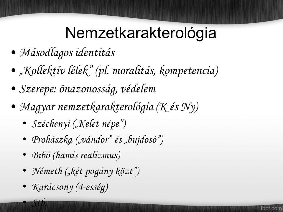 """Nemzetkarakterológia Másodlagos identitás """"Kollektív lélek (pl."""