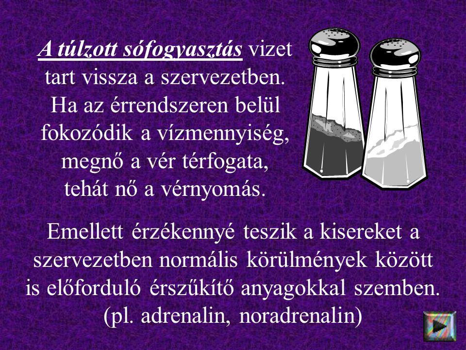 A túlzott sófogyasztás vizet tart vissza a szervezetben.