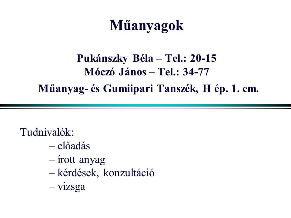 1 Műanyagok Pukánszky Béla – Tel.: 20-15 Móczó János – Tel.: 34-77 Műanyag- és Gumiipari Tanszék, H ép.