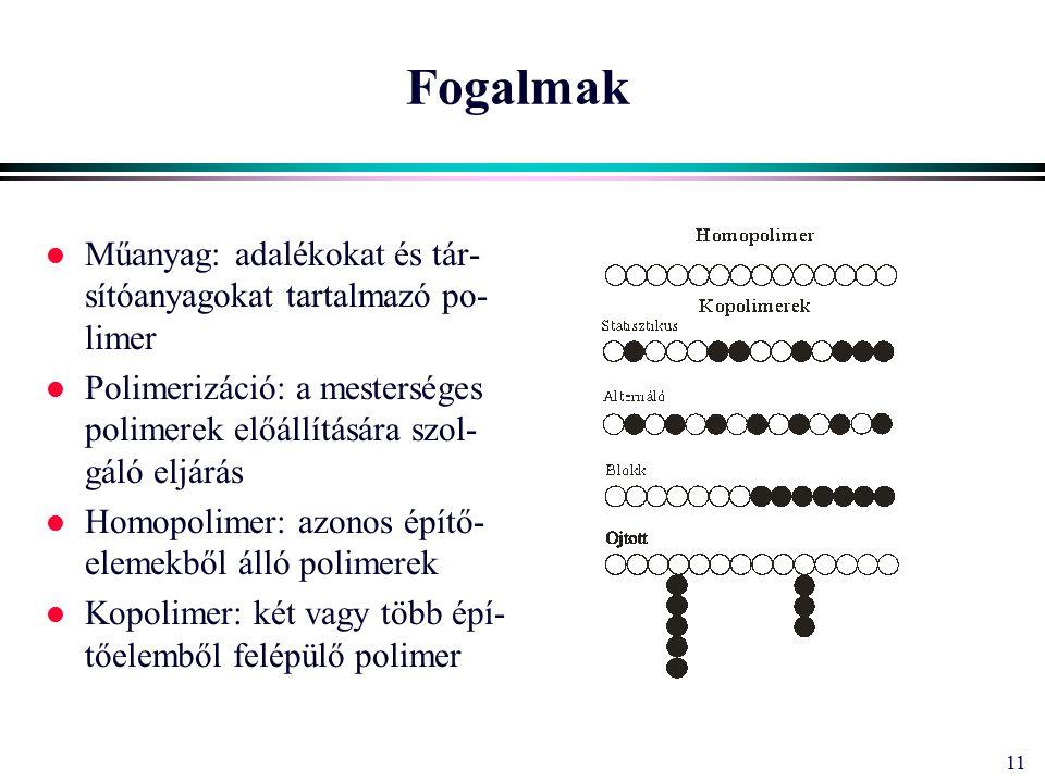 11 Fogalmak l Műanyag: adalékokat és tár- sítóanyagokat tartalmazó po- limer l Polimerizáció: a mesterséges polimerek előállítására szol- gáló eljárás l Homopolimer: azonos építő- elemekből álló polimerek l Kopolimer: két vagy több épí- tőelemből felépülő polimer