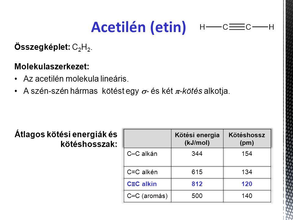 Acetilén (etin) Összegképlet: C 2 H 2.Molekulaszerkezet: Az acetilén molekula lineáris.