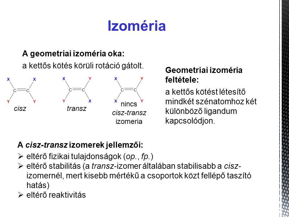 Izoméria A geometriai izoméria oka: a kettős kötés körüli rotáció gátolt.