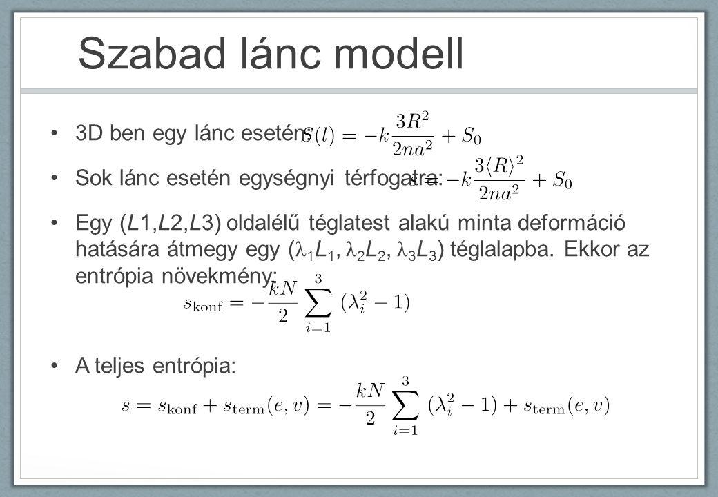 Szabad lánc modell 3D ben egy lánc esetén: Sok lánc esetén egységnyi térfogatra: Egy (L1,L2,L3) oldalélű téglatest alakú minta deformáció hatására átmegy egy ( λ 1 L 1, λ 2 L 2, λ 3 L 3 ) téglalapba.