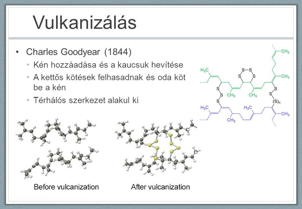 Vulkanizálás Charles Goodyear (1844) Kén hozzáadása és a kaucsuk hevítése A kettős kötések felhasadnak és oda köt be a kén Térhálós szerkezet alakul ki