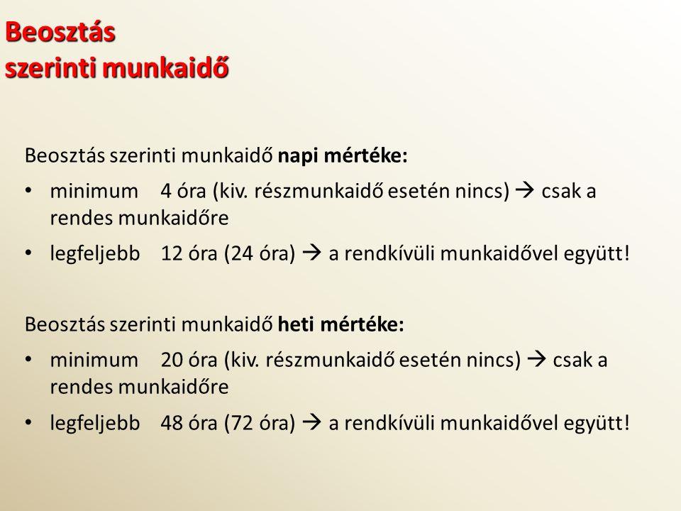 Beosztás szerinti munkaidő Beosztás szerinti munkaidő napi mértéke: minimum 4 óra (kiv.