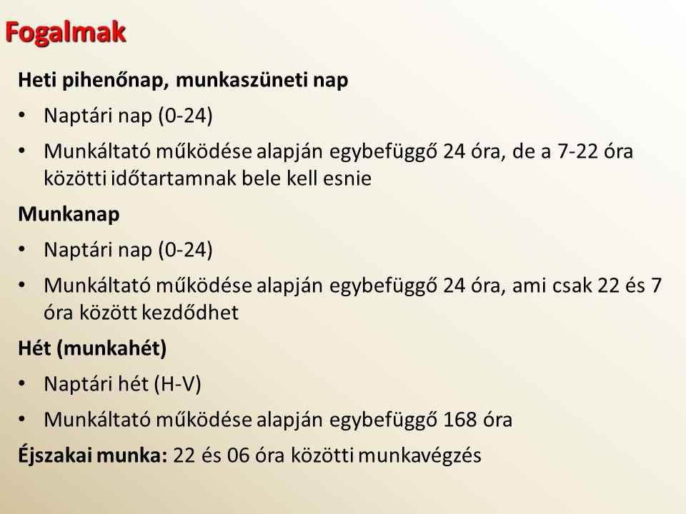 Fogalmak Heti pihenőnap, munkaszüneti nap Naptári nap (0-24) Munkáltató működése alapján egybefüggő 24 óra, de a 7-22 óra közötti időtartamnak bele ke