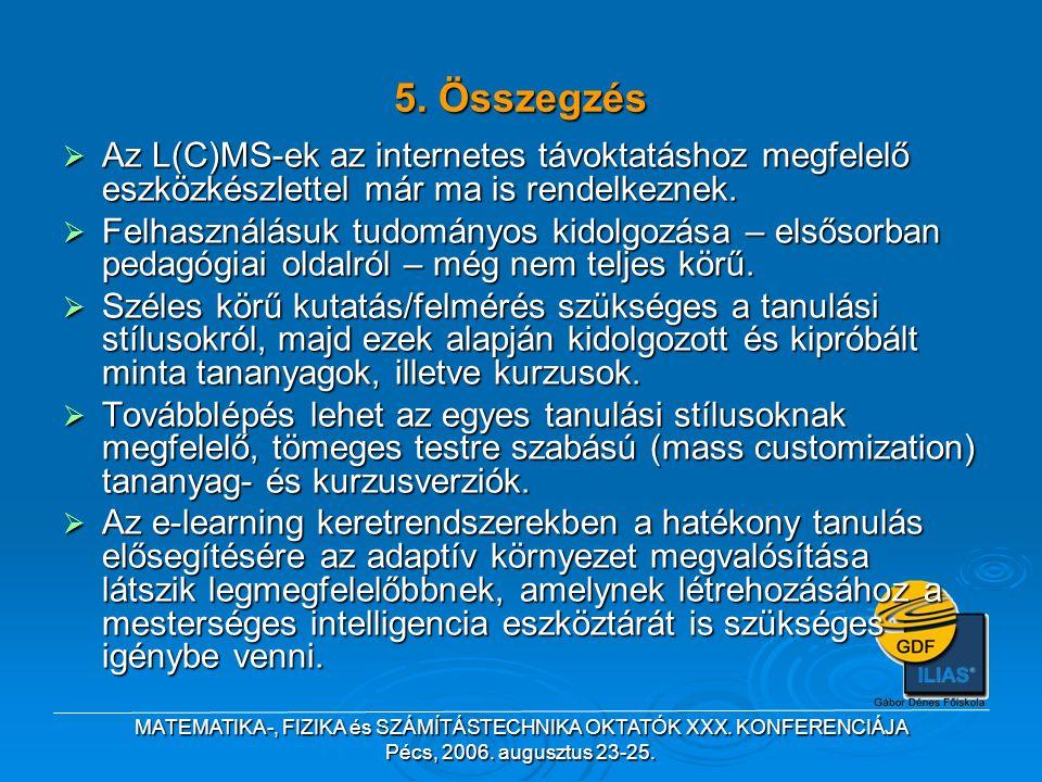 MATEMATIKA-, FIZIKA és SZÁMÍTÁSTECHNIKA OKTATÓK XXX. KONFERENCIÁJA Pécs, 2006. augusztus 23-25.  Az L(C)MS-ek az internetes távoktatáshoz megfelelő e
