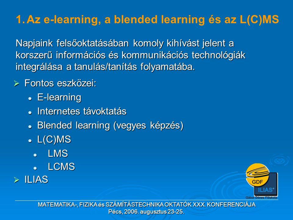 MATEMATIKA-, FIZIKA és SZÁMÍTÁSTECHNIKA OKTATÓK XXX. KONFERENCIÁJA Pécs, 2006. augusztus 23-25. 1.Az e-learning, a blended learning és az L(C)MS LMS L
